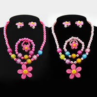 Baby Girl Pearl Beads Flower Sets Necklace Bracelet Earrings Ring Cute Jewelry