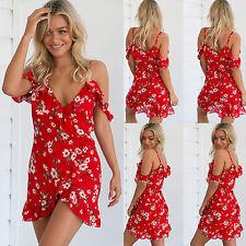 UK Womens Off Shoulder Chiffon Strap Floral Ladies Summer Beach Short Mini Dress