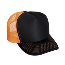 Wholesale Lot 1 Dozen 12 Blank Foam/Mesh Trucker Hats Neon Orange Black
