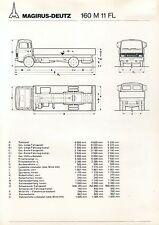 MAGIRUS-DEUTZ 160 M 11 FL prospetto dati tecnici 6/79 brochure 1979 CAMION TRUCK