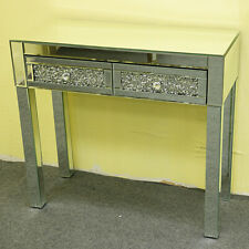 Luxury Dressing Table Mirrored 2 Crystal Drawers Bedroom Glass Makeup Dresser