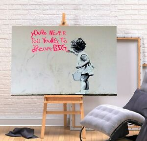 BANKSY DREAM BIG - CANVAS/FRAMED WALL ART PICTURE PRINT - CREAM PINK BLACK
