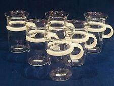 New Listing6 Bodum Bistro Clear Glass Tall 10 Oz Coffee Mugs Cups White Handles Swiss New