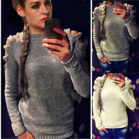 Womens Long Sleeve Knit Sweater Jumper Pullover Tops Knitwear Lady Loose Blouse