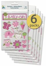 6 Packs - Baby Girl Shower Supplies - Party Favor - Scrapbooking Stickers
