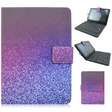 """PU Leather USB Cable Keyboard Folio Stand Cover Case For Samsung 7"""" 10.1"""" Tablet"""