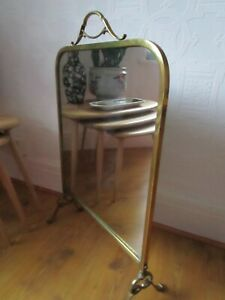 ANTIQUE MIRRORED FIRE GUARD / SCREEN - BRASS SURROUND AND BASE FEET