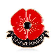 'Lest We Forget' Red Poppy Flower 2018 Enamel Metal Lapel Pin Badge Brooch Pins
