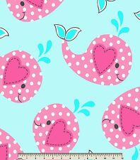"""POLKA DOT PINK/TURQUOISE BABY WHALES ON LT BLUE FLEECE MATERIAL 2 YDS 60 X 72"""""""