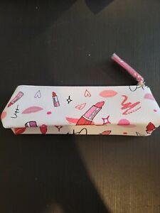 Estee Lauder White/Pink Printed Cosmetic Makeup Bag/Pencil Case