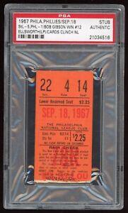 1967 St Louis Cardinals Clinch! Gibson Win #125 9/18/67 Phillies Ticket Stub PSA