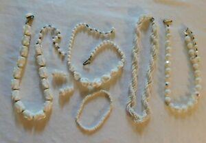 Lot of 4 Milk Glass Beaded Broken Vintage Art Deco Necklaces For Restringing
