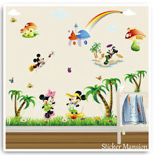 Mickey Mouse Wall Stickers Decals Animal Jungle Hibou Arbre Baby Kids Room Nursery