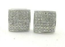 Sterling Silver Pave Natural Diamonds Cushion Stud Earrings (0.50 Ct. t.w.)