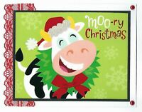 CHRISTMAS Holiday Greeting Card - Moory Cow - Handmade From Recycle