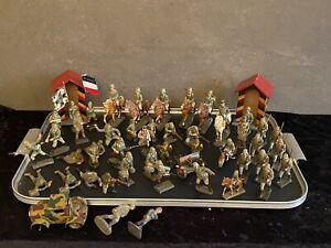 Konvolut seltene Massefiguren Lineol Elastolin Schusso Reiter Wehrmacht usw....