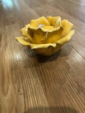 Glazed Ceramic Yellow Rose Tea Light Candle Holder Flower Centerpiece