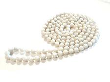 Bijou collier sautoir perles de verre teintées blanc marbré necklace