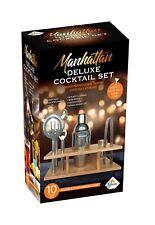 Cocktail Maker-Bar Jigger Strainer 10 Pcs Shaker Set With Recipe & Wood Stand