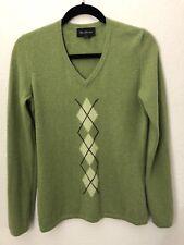 McDuff Women's S 100% Cashmere Green V-Neck Argyle Front Sweater