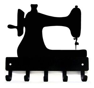 Seamstress Sewing Machine Key Rack/Hanger & Organizer with 5 hooks- Large 9 inch