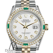 Emerald Diamond Rolex Stainless Steel 18K Gold 36mm Datejust White Face Jubilee