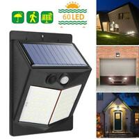 LED Solar Power Light PIR Motion Sensor Security Outdoor Garden Yard Wall Lamp