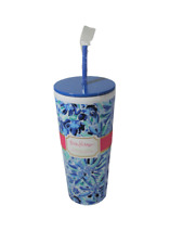 Lilly Pulitzer Tumbler Straw Iris Blue 24 Ounce NEW NWT