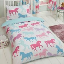 PATCHWORK PONIES JUNIOR COT BED DUVET COVER SET PONY HORSE NEW