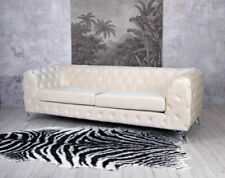 Chesterfield Velours Canapé Champagne Rembourré Polstercouch Glamour 3-Sitzer
