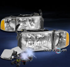 1999-2001 DODGE RAM 1500 SPORT PICKUP CHROME HEADLIGHTS W/CORNER LAMP+8000K HID