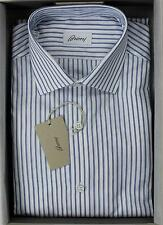 Brioni NWT 100% Cotton White Blue Striped Fitted Hand Made Dress Shirt 41 16