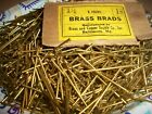 125 - THIN, VINTAGE 1 1/2' LONG X #18 SOLID BRASS BRAD NAILS, NEW OLD STOCK