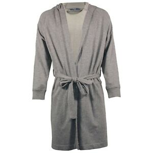 Mens Dressing Gown Hooded EX M&S Towelling Jersey Bath Robe Quick Dry Warm Robes