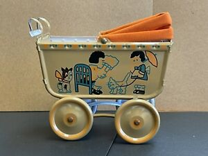 Colorful Vintage Dollhouse Miniature Tin Baby Carraige
