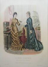 GRAVURE EN COULEUR 19ème MODE ILLUSTREE 1877 N° 38 TOILETTES MADAME FLADRY