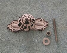Antique French Provincial Drawer Pull Brass Knob Steel Back Plate Fancy Shabby