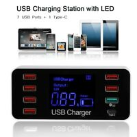 Type C + 7-Port USB Adapter Desk Wall Charger Smart LED Display Charging Station