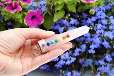 "4"" Rose Quartz 7 Chakra Theraphy Wand Aura Healing Gemstone Massage Ef6"
