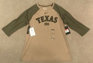 Nike Tee MLB Texas Rangers Military Olive Green Khaki 3/4 Sleeve Shirt Womens L