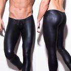 Men Slim Fit PU Leather Bodycon Pants Casual Skinny Leg Long Pants Trousers Gift