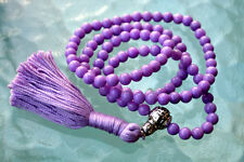 6 mm Purple Jade Prayer Beads Japa Mala Necklace - Buddhist Karma 108+1 Beads