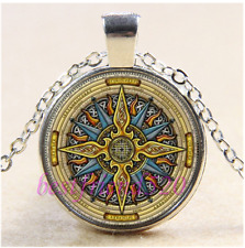 Celtic Compass Mandala Cabochon Glass Tibet Silver Chain Pendant Necklace#CB53
