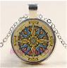 Celtic Compass Mandala Cabochon Glass Tibet Silver Chain Pendant Necklace#CB53