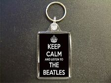 KEEP CALM AND LISTEN TO THE BEATLES KEYRING BIRTHDAY GIFT BAG TAG