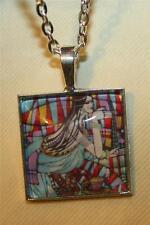 Lovely Square Silvertne Celebration of Motherhood Pregnant Lady Pendant Necklace