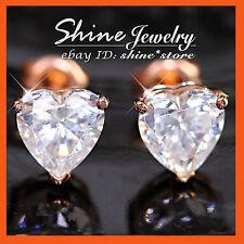 GENUINE 9K 9CT ROSE GOLD LOVE HEART DIAMOND SIMULANT WEDDING SOLID EARRINGS GIFT