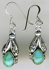"925 Sterling Silver Turquoise Drop / Dangle  Earrings  Length  1.3/8"" 35mm"