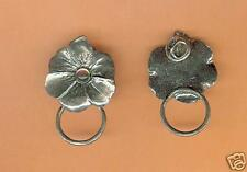 4 wholesale pewter flower eyeglass holder pins E5117