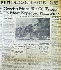 Mar1941 bound volume WW II newspapers NAZI GERMANY threatens GREECE & YUGOSLAVIA